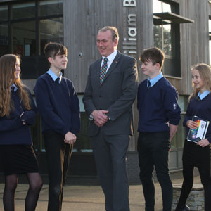 William Brookes School pupils with headteacher